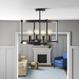 Gracie Oaks Dunnstown Industrial Ceiling 4-Light Semi-Flush Mount