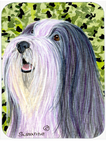 East Urban Home Black And White Bearded Collie And Green Glass Cutting Board Wayfair