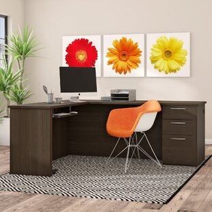 Karyn L-Shape Computer Desk with Hutch