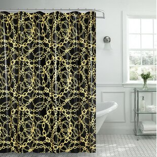 Albright Cadena Amarilla Chain Vinyl Single Shower Curtain with Matching Roller Hook