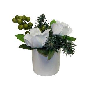White rose arrangement wayfair simple white christmas rose arrangement mightylinksfo