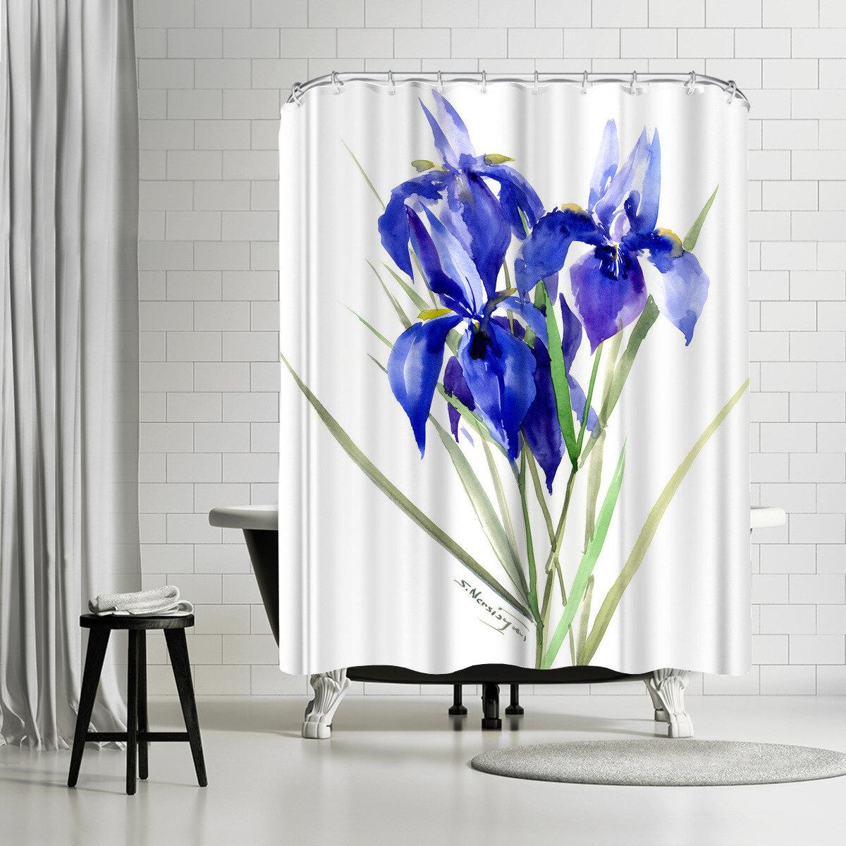 East Urban Home Suren Nersisyan Iris Flowers 3 Single Shower Curtain Wayfair