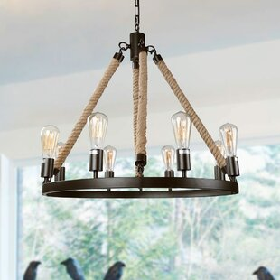 Rope 8-Light Wagon Wheel Chandelier by LNC Home