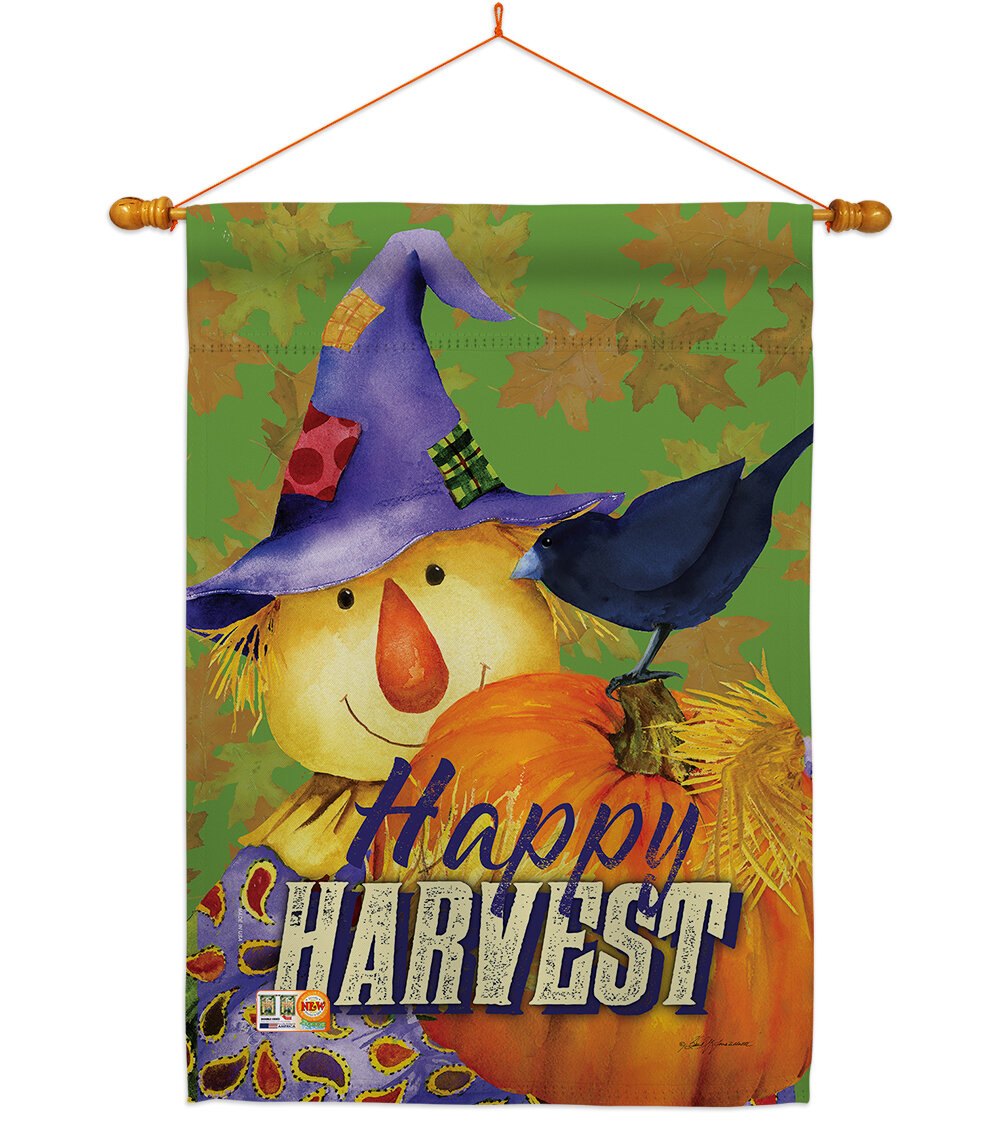 Breeze Decor Happy Harvest Scarecrow 2 Sided Polyester 40 X 28 In Flag Set Wayfair