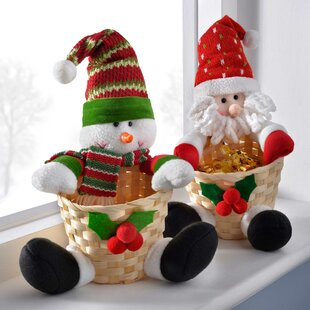 snowman and santa basket christmas table decoration set of 2