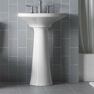 Find the perfect Cimarron Ceramic 23 Pedestal Bathroom Sink with Overflow By Kohler