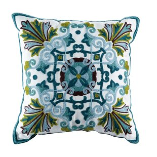 Emerald Embroidered Cotton Throw Pillow