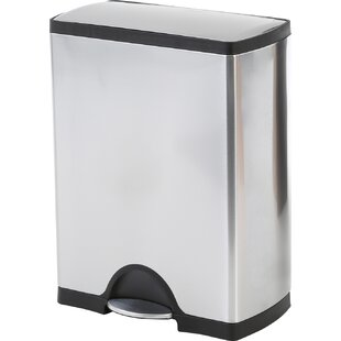 Ordinaire 8 Gallon Rectangular Step Trash Can, Brushed Stainless Steel
