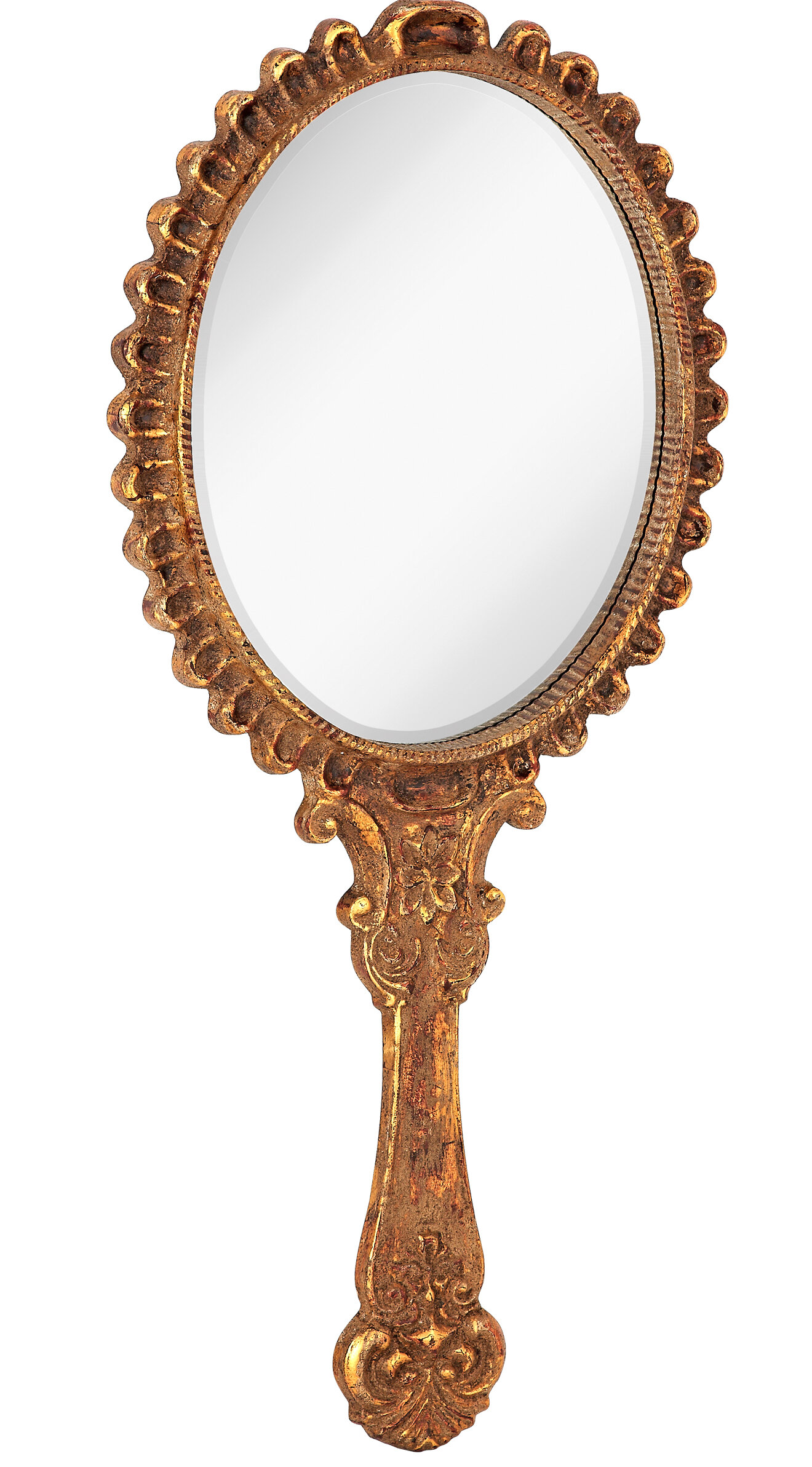 Majestic Mirror Antique Gold with Rottenstone Hand Mirror Shaped ...