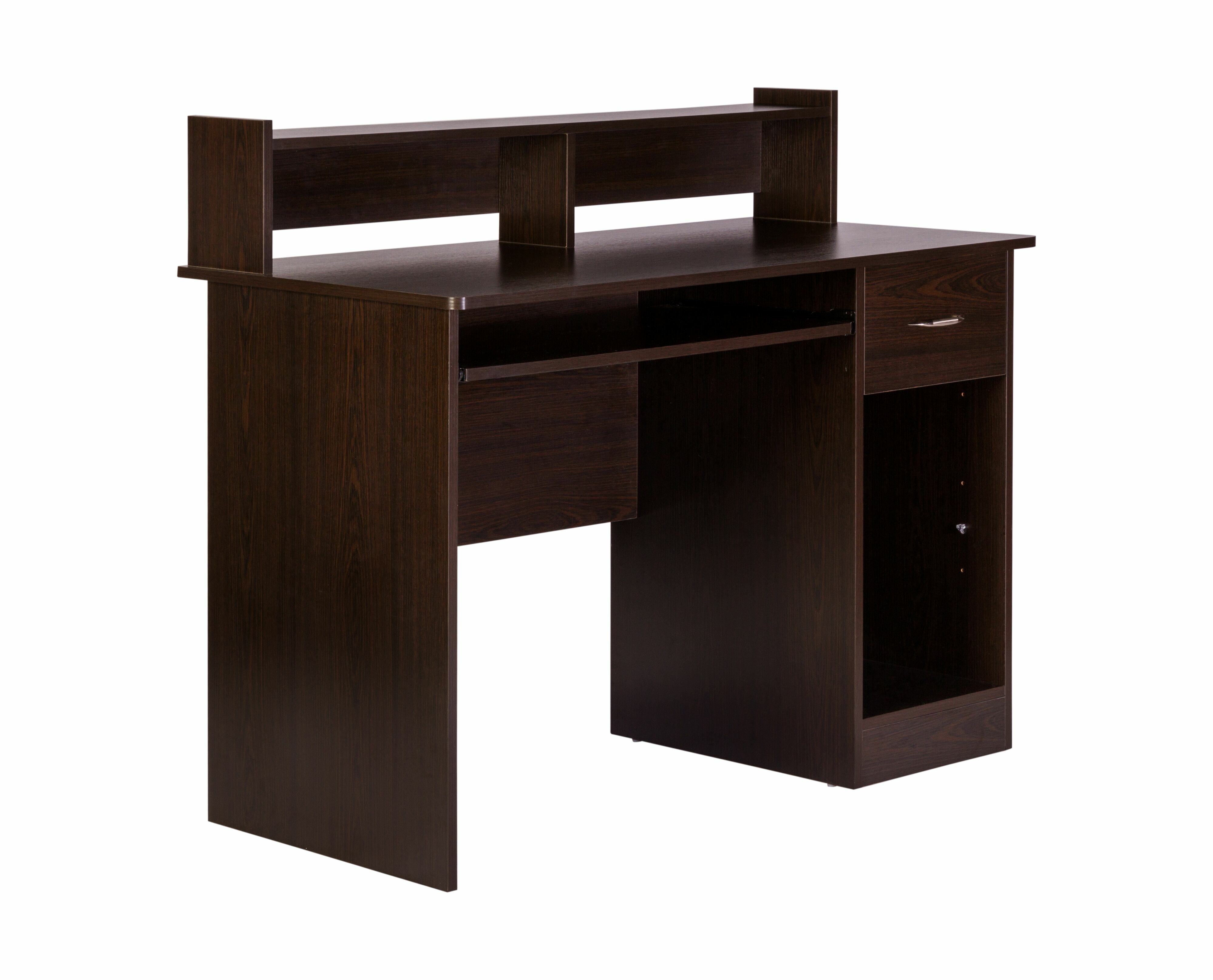 Student Computer Desk Wood Table Hutch Keyboard Sliding Tray Drawer Shelf School