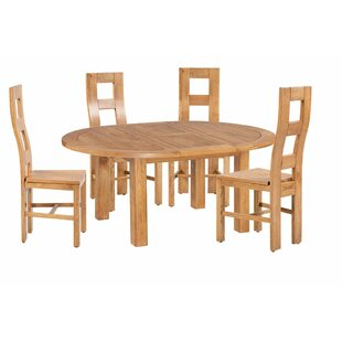 Carbajal 5 Piece Extendable Solid Wood Dining Set Loon Peak
