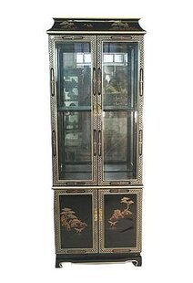Oriental Furniture Lighted China Cabinet