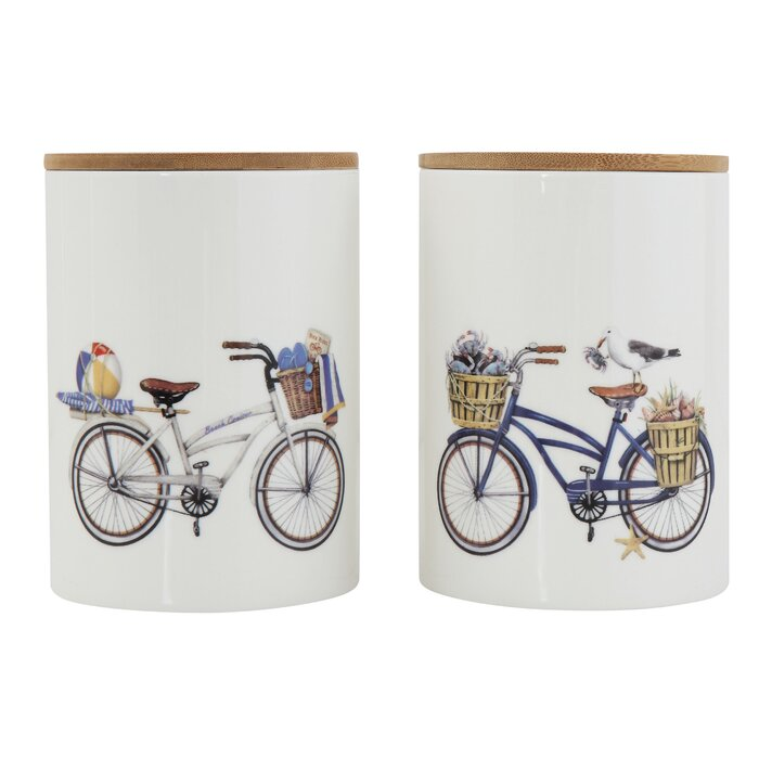Bicycle with Basket of Items Stoneware Kitchen Canister