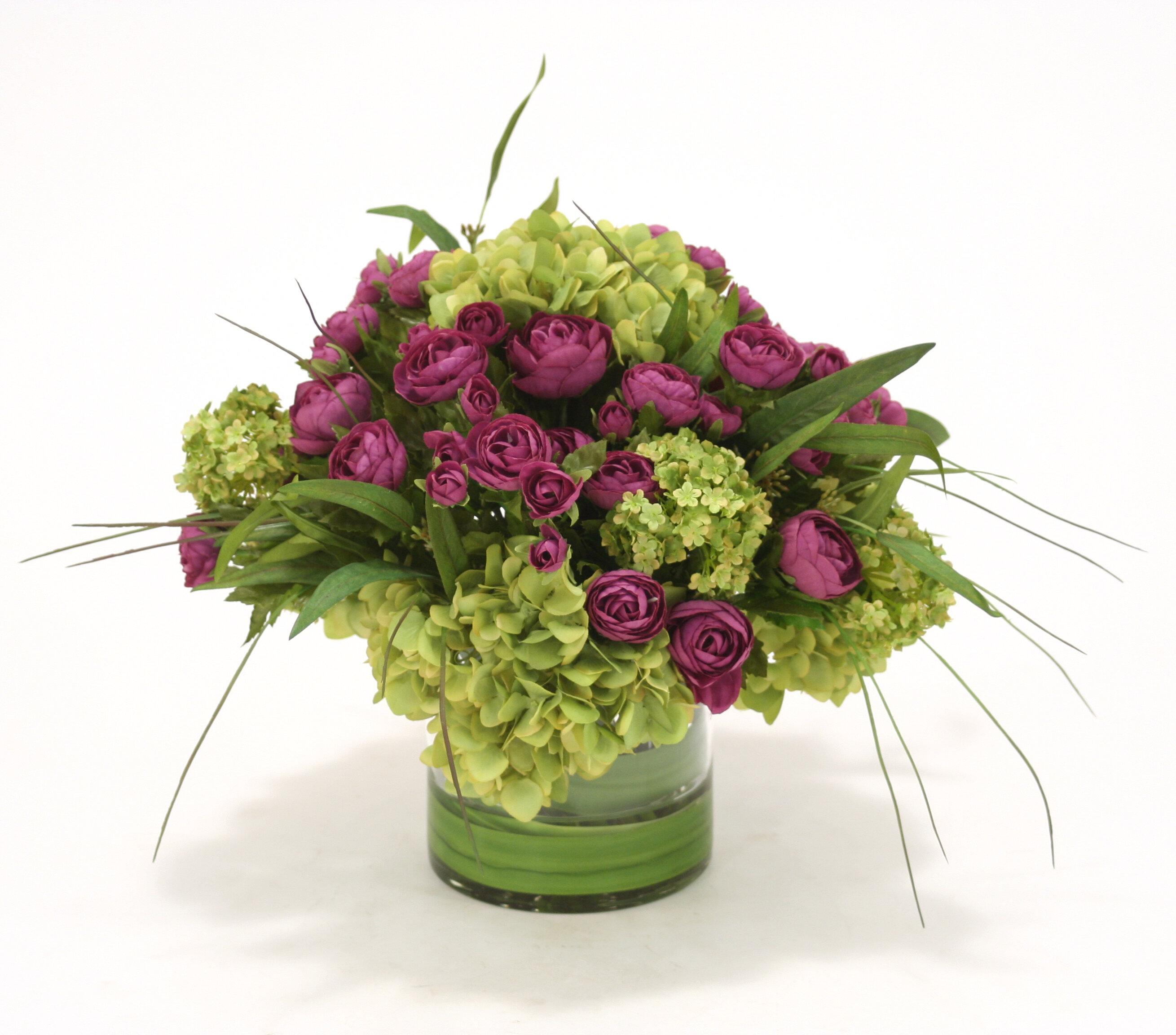 Primrue Ranunculus And Hydrangeas Floral Arrangement In Clear Cylinder Vase Wayfair