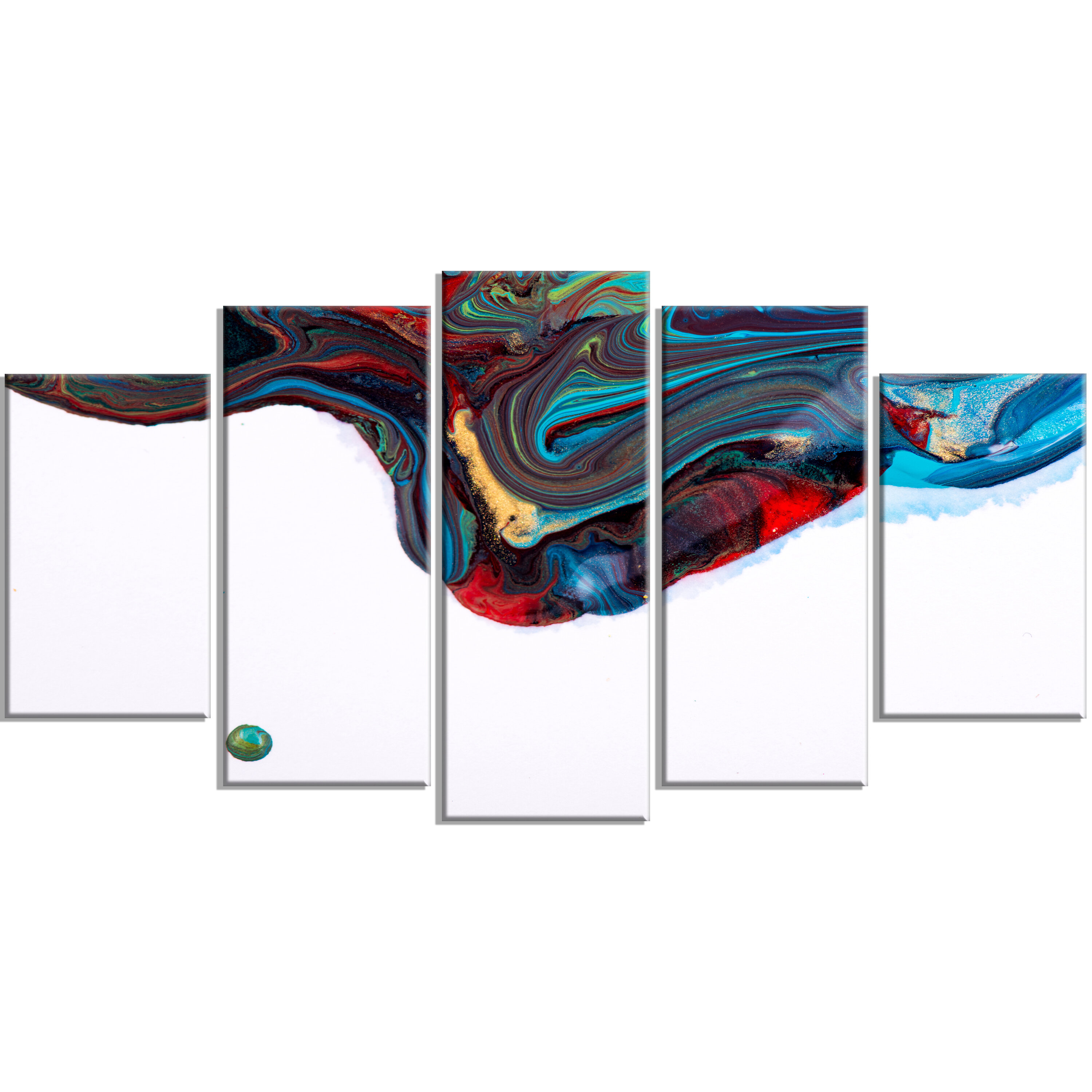 Ebern Designs Multicolor Abstract Acrylic Paint Mix 5 Piece Wall Art On Wrapped Canvas Set Wayfair