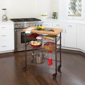 Ondina Bamboo Top Chef's Table Kitchen Cart Wood by Winston Porter Cheap