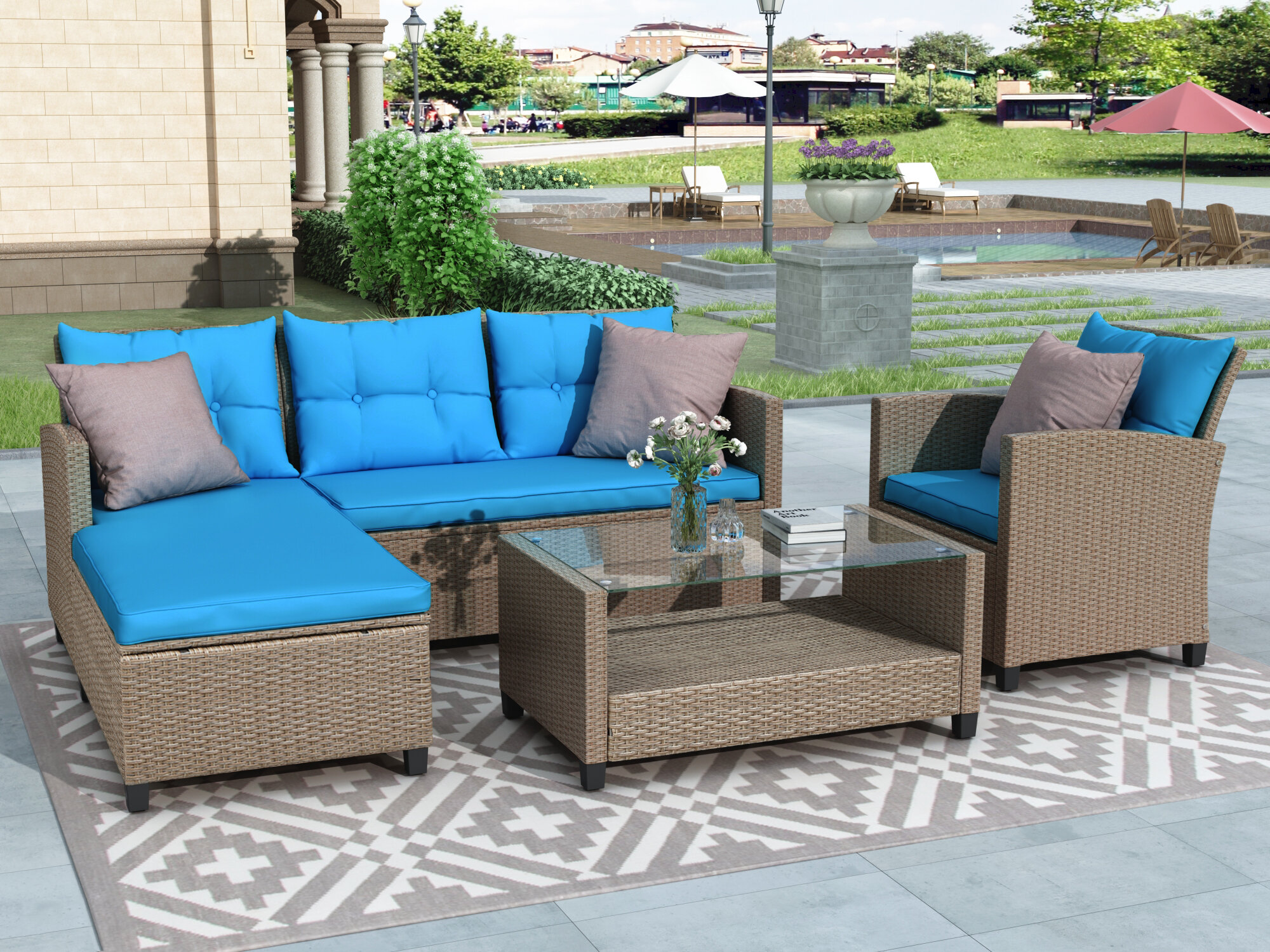 Dovecove 4 Piece Rattan Sectional Seating Group With Cushions Wayfair
