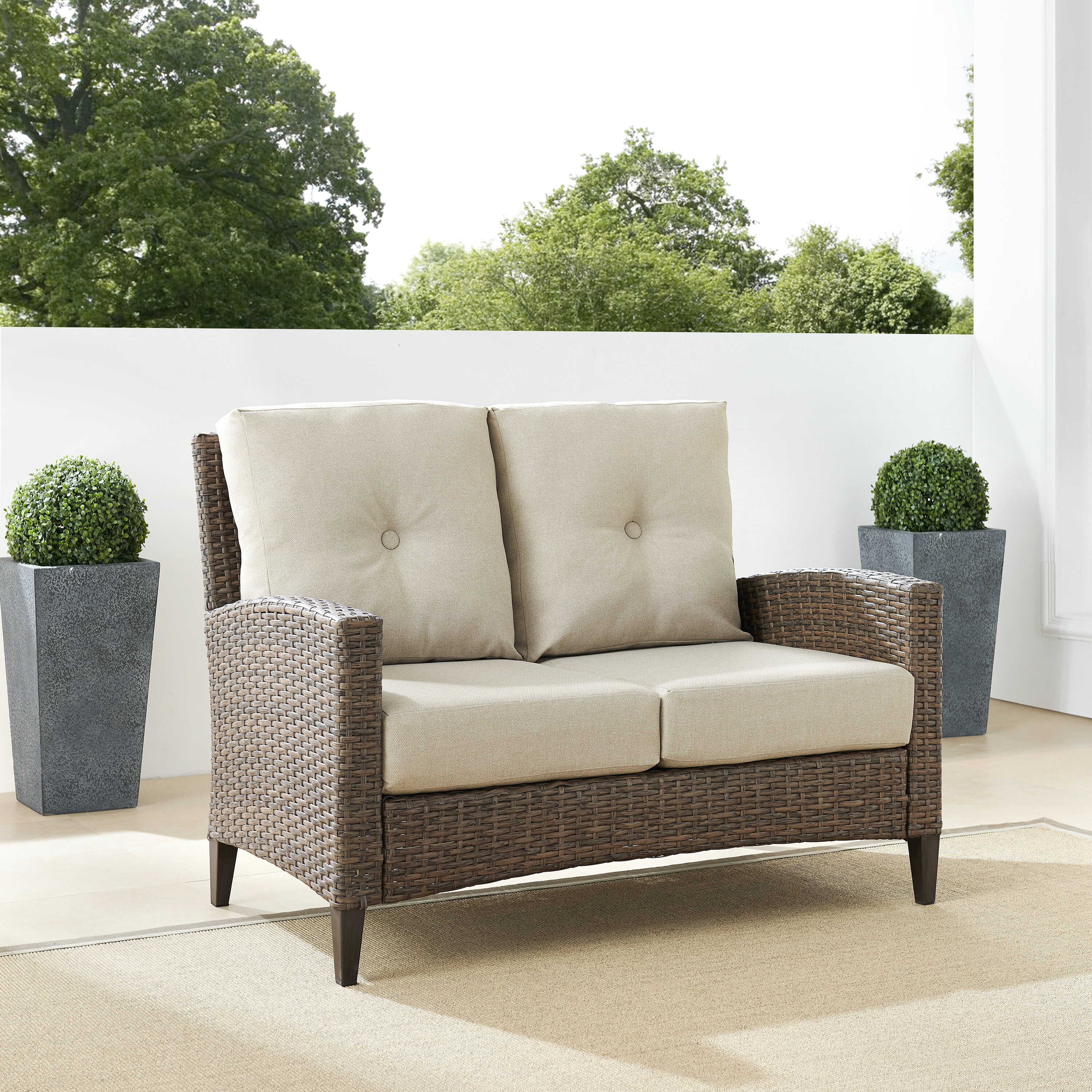 Allis Furniture Outdoor High Back Loveseat with Cushion