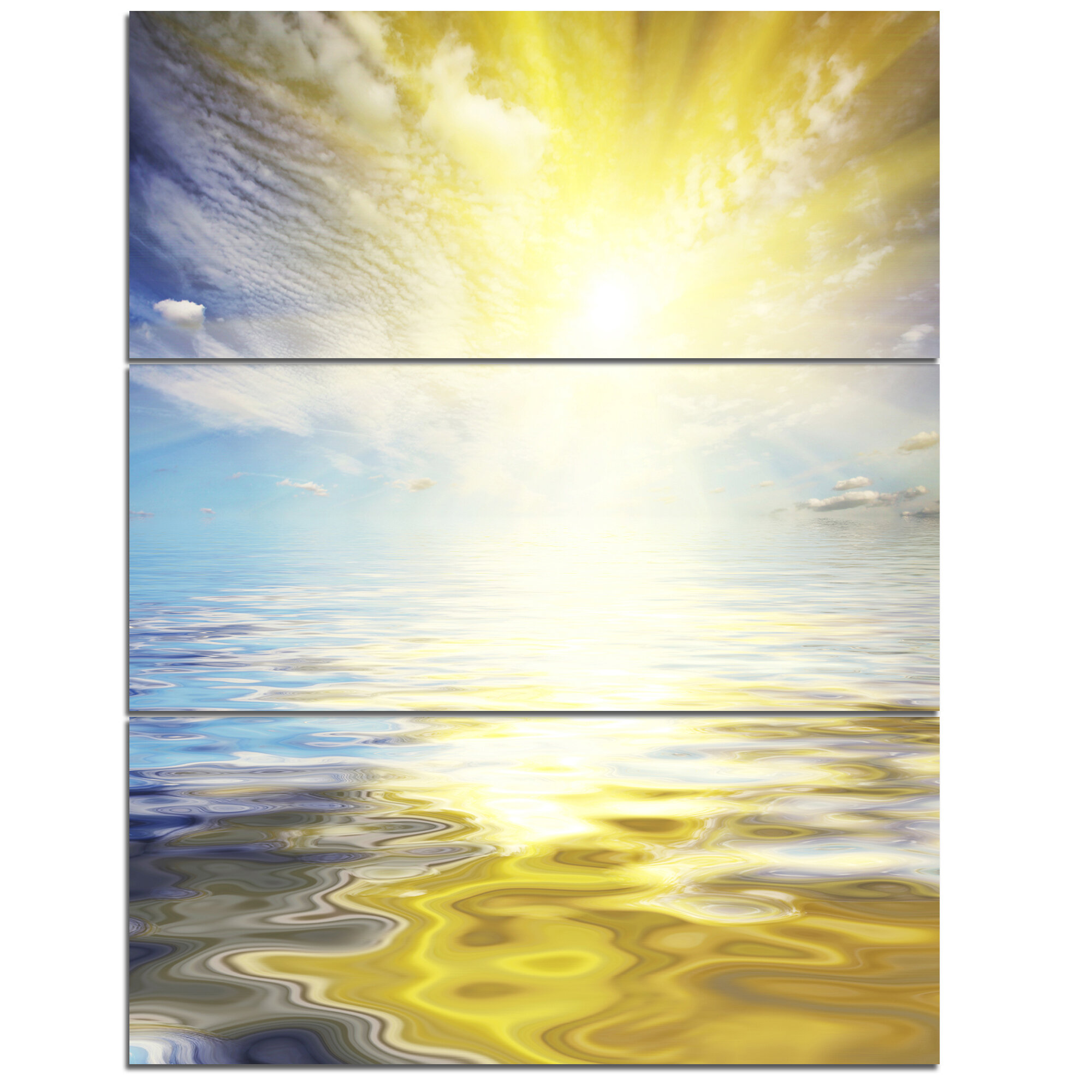DesignArt \'Wavy View of Sea in Yellow Blue\' 3 Piece Wall Art on ...
