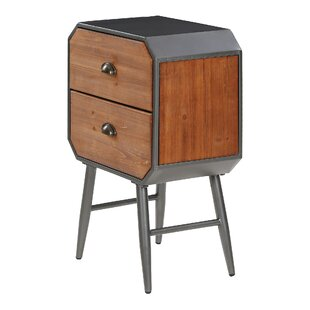 Braddock Wooden And Iron 2 Drawer Bedside Table By Williston Forge