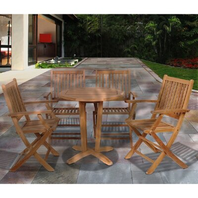 Meier 5 Piece Teak Dining Set by Longshore Tides Today Sale Only