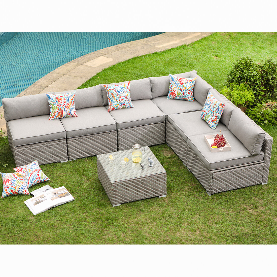 7 Piece Outdoor Furniture Set Warm Gray