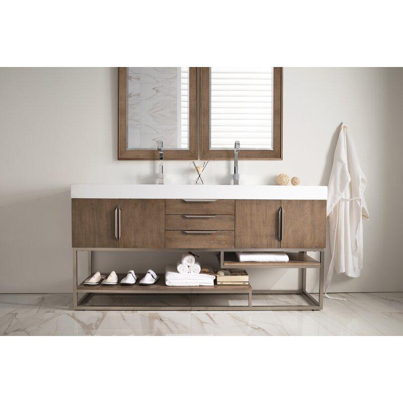 James Martin Furniture Columbia 72 Quot Double Latte Oak Bathroom Vanity Set Perigold