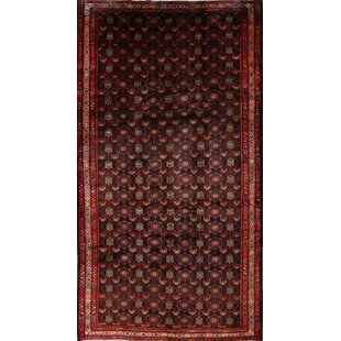 Affordable Price One-of-a-Kind Okelly Geometric Traditional Zanjan Persian Vintage Hand-Knotted 5'4 x 9'7 Wool Black/Burgundy Area Rug By Isabelline