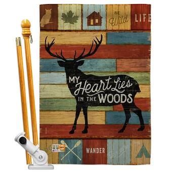Breeze Decor My Heart Lies In The Woods Nature American Impressions 2 Sided Polyester 40 X 28 In Flag Set Wayfair