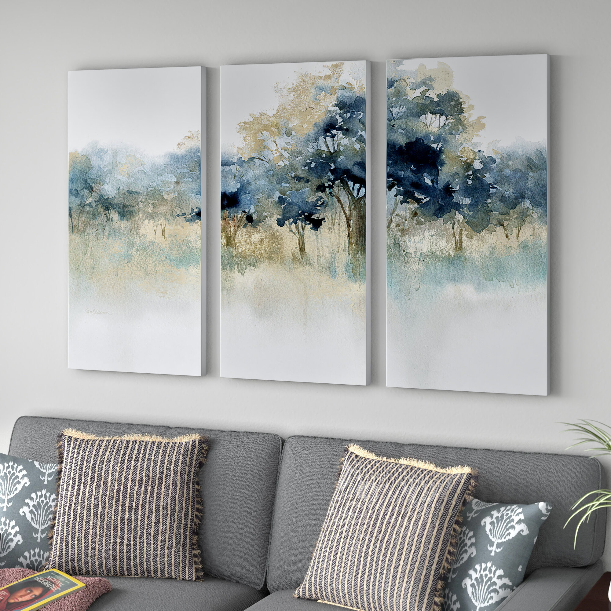 Andover Mills Waters Edge Ii 3 Piece Acrylic Wrapped Canvas Painting Print Set Reviews Wayfair
