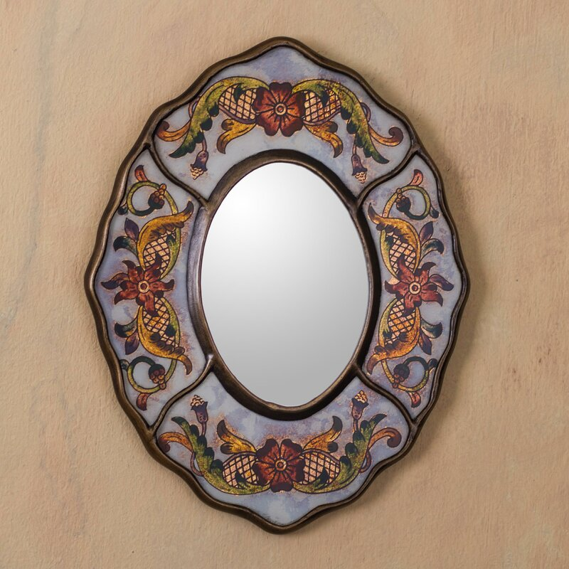 World Menagerie Umaiza Aged Reverse Painted Glass Modern & Contemporary Wall Mirror