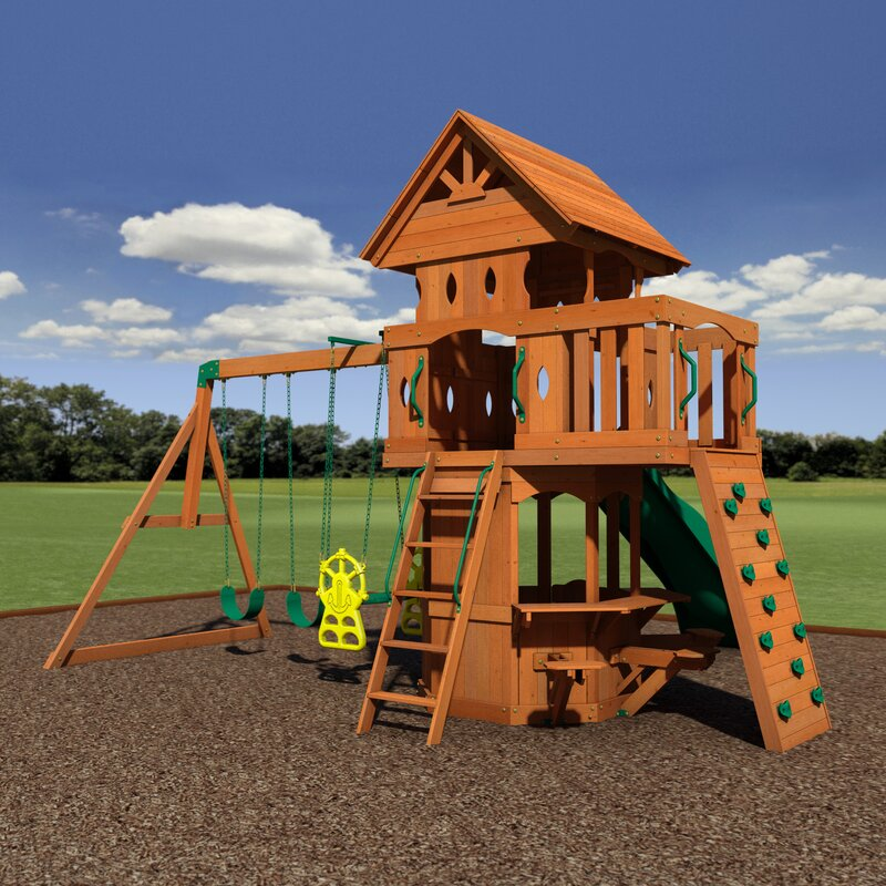Backyard Discovery Woodland All Cedar Swing Set Reviews Wayfair