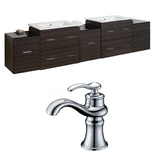 Kyra Transitional 90 Double Bathroom Vanity Set with Glass Top