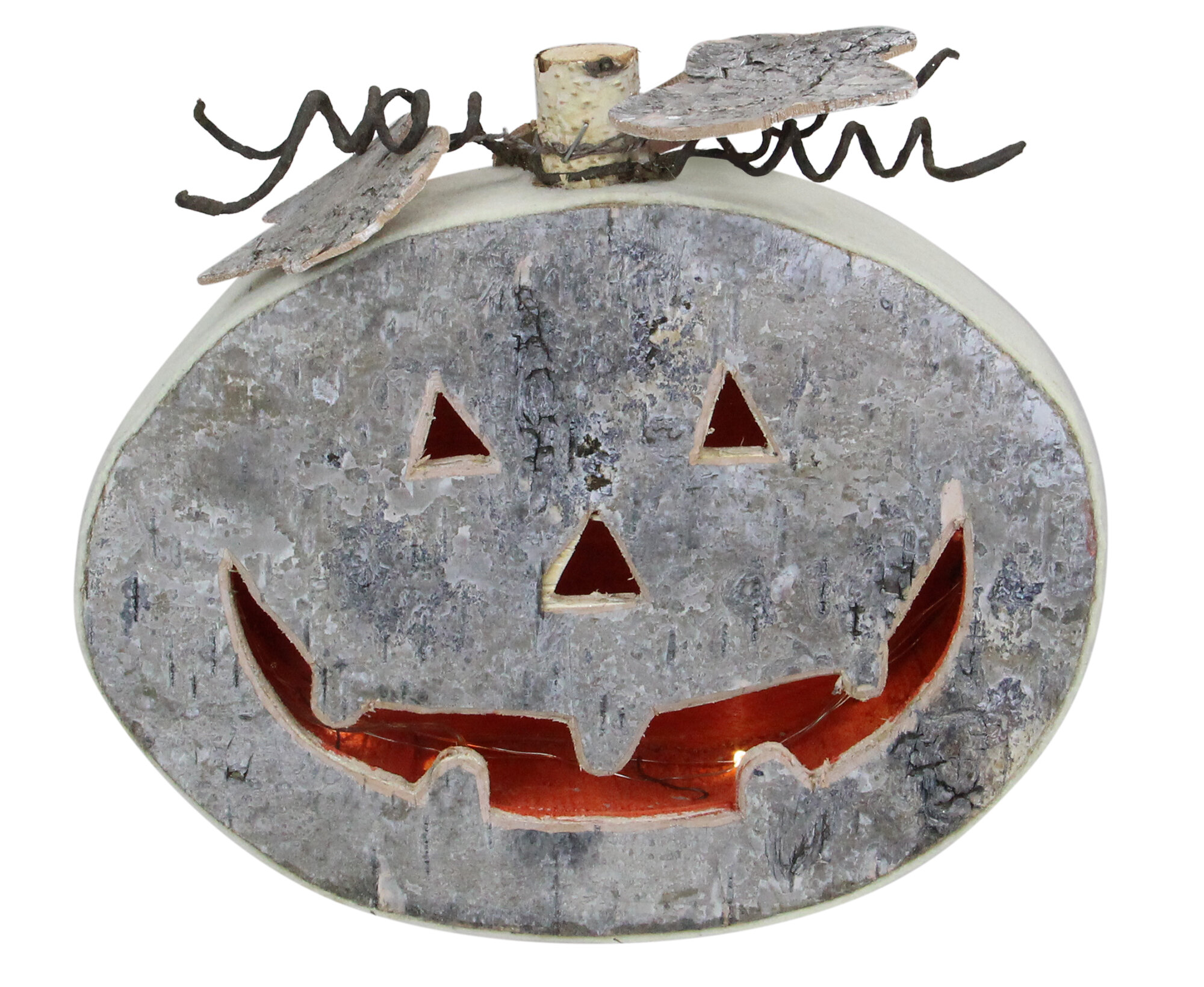 """9 25"""" Gray Led Battery Operated Jack O Lantern Halloween Table Top Decoration"""