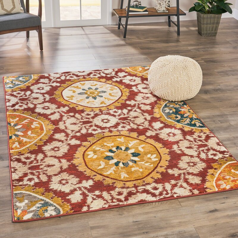 Alcott Hill Ackerman Casual Shag Red/Yellow/Beige Area Rug, Size: Rectangle 78 x 108