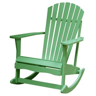 Hinman Solid Wood Rocking Adirondack Chair by Highland Dunes