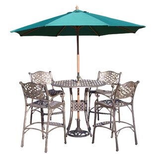 Thelma 5 Piece Bar Height Dining Set with Umbrella