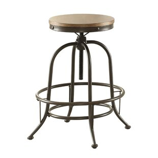 Flora Wood/Metal Backless Adjustable Height Swivel Bar Stool (Set of 2) by 17 Stories