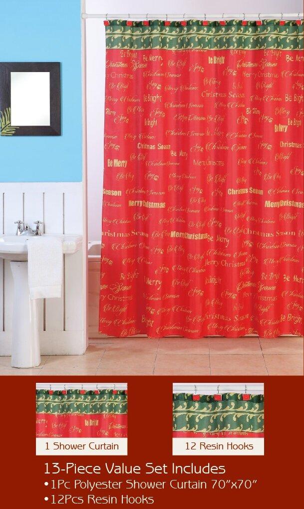 Dainty Home Christmas Shower Curtain Set