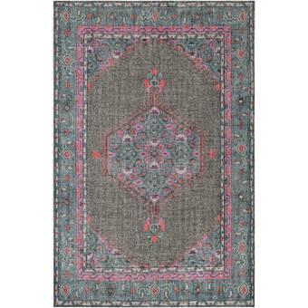 Gordan Oriental Handmade Tufted Wool Navy Medium Gray Area Rug Allmodern