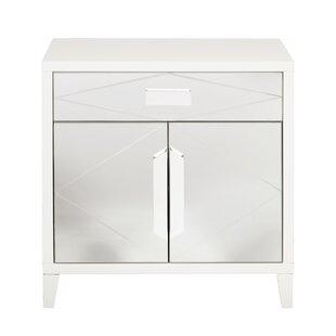Willa Arlo Interiors Diamond Mirror Overlay 2 Door Accent Cabinet