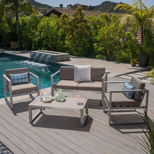 Ontiveros Outdoor 4 Piece Sofa Set with Cushions