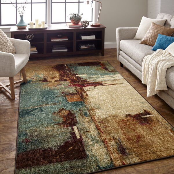 Langley Street Abstract Blue Beige Brown Area Rug Reviews Wayfair