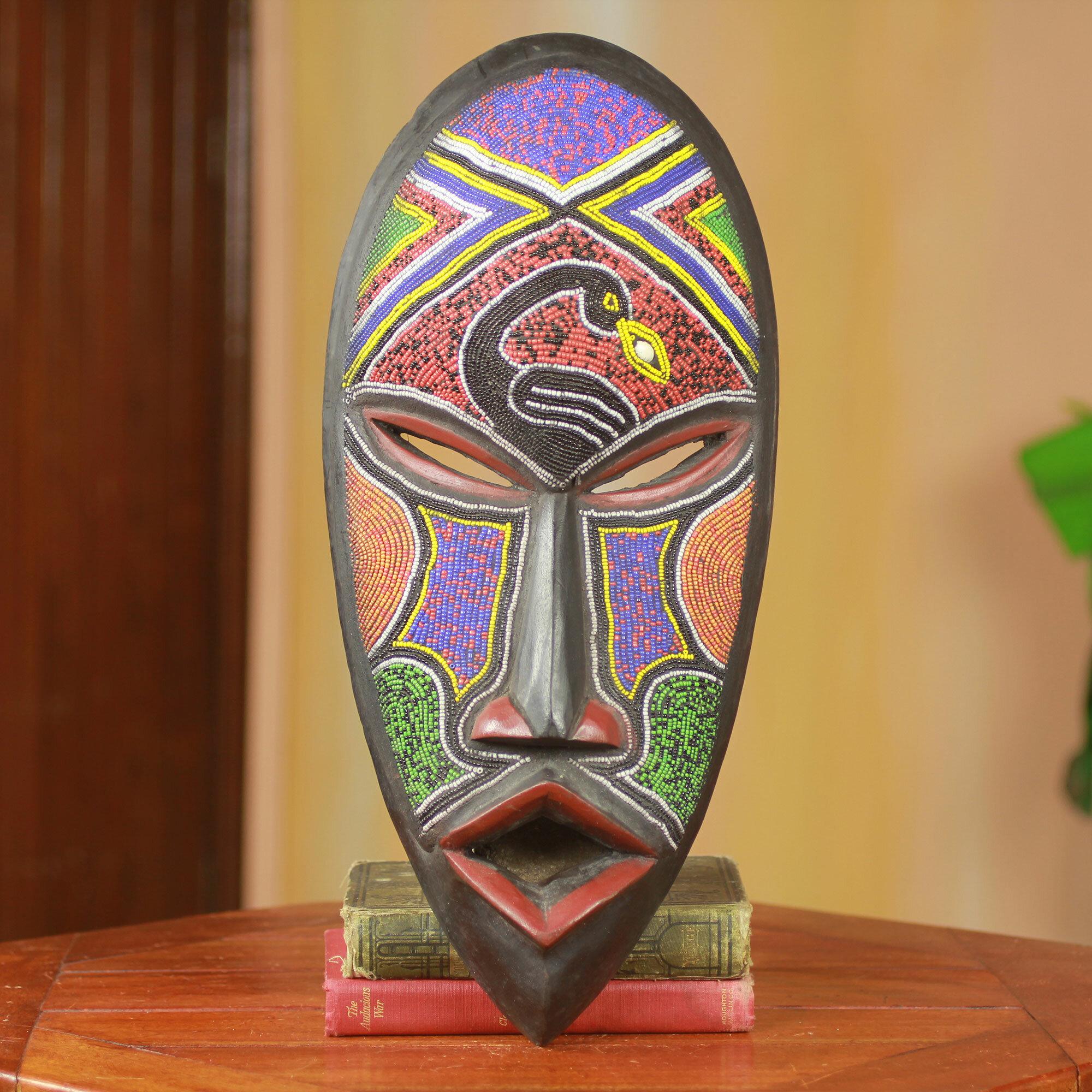 Abdul Aziz Mohamadu Unique Beaded Wood African Mask Wall Decor