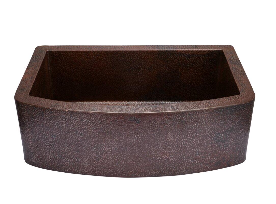 33   x 22   copper curved front single bowl farmhouse kitchen sink hahn 33   x 22   copper curved front single bowl farmhouse kitchen      rh   wayfair com