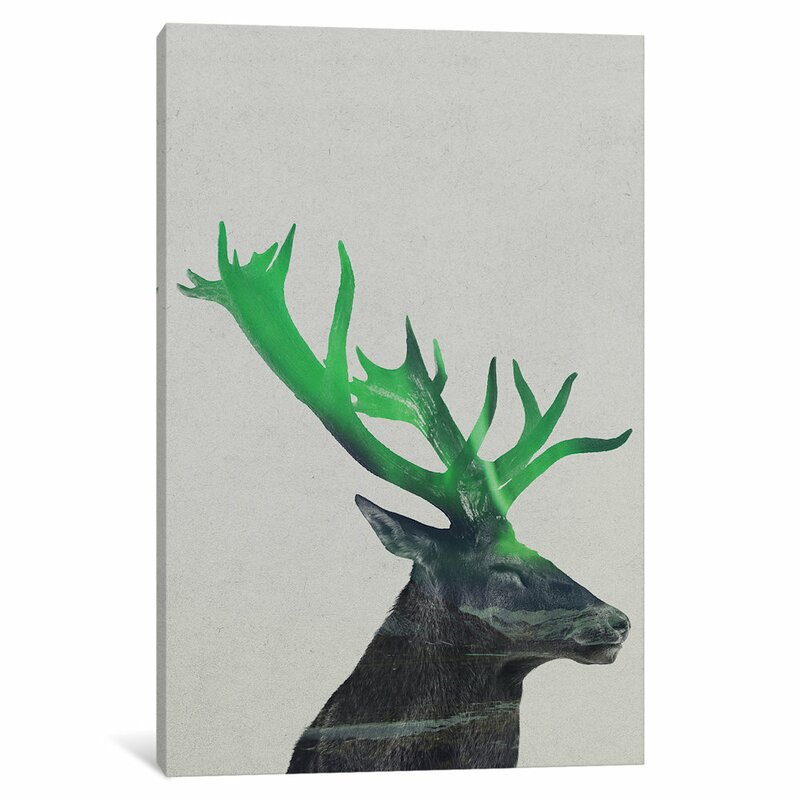 East Urban Home Aurora Borealis Series Deer Vertical Graphic Art On Wrapped Canvas Wayfair