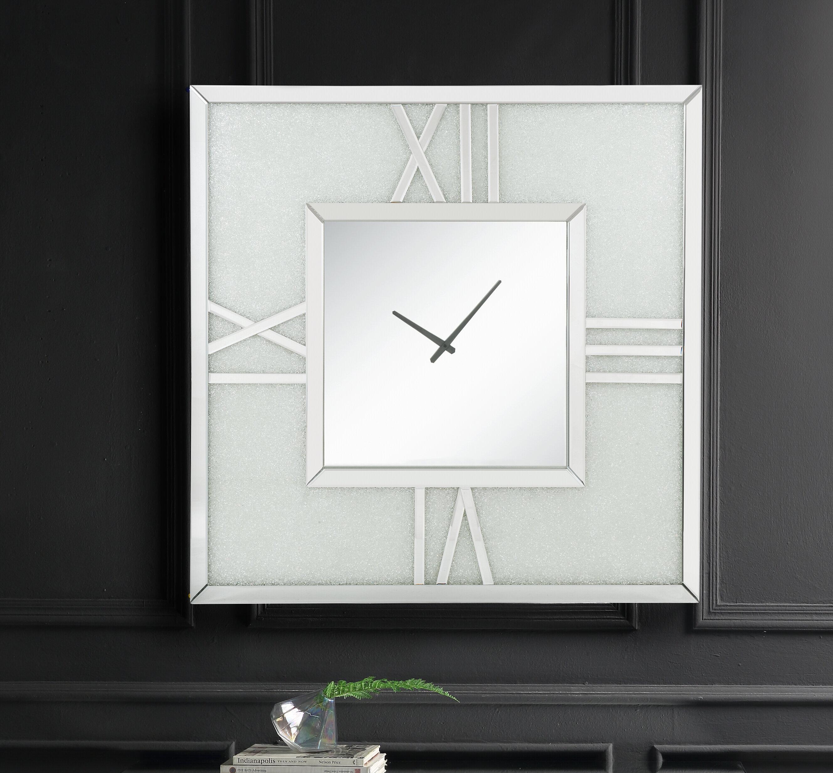 Acme Noralie Wall Clock In Mirrored Faux Diamonds Wayfair