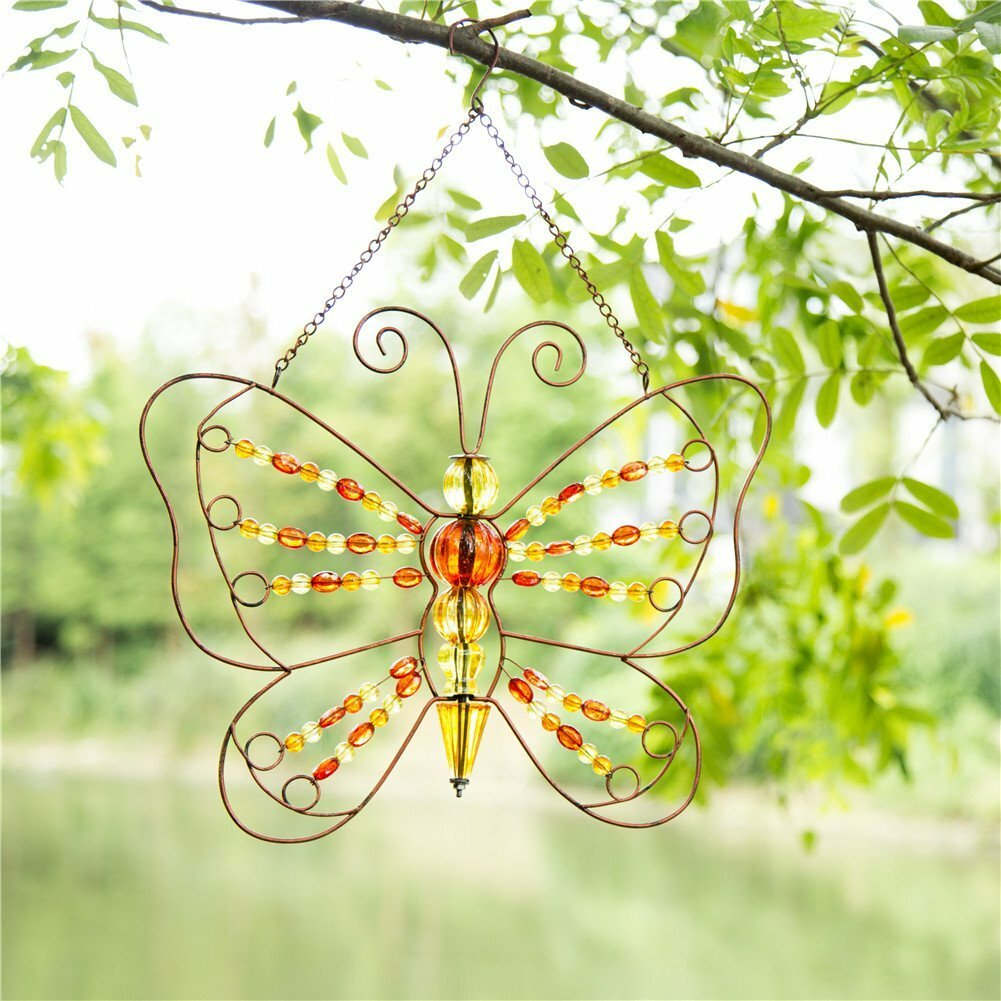 Glitzhome Beaded Butterfly Hanging Iron Wall Décor | Wayfair