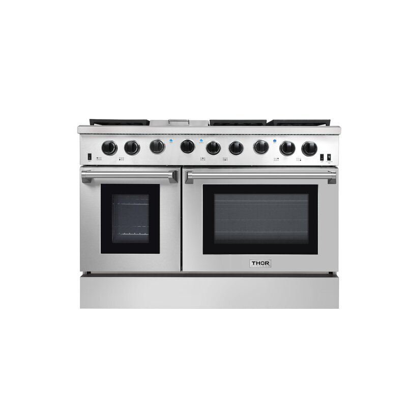 Thor Kitchen 2-Piece 36 inch Freestanding Pro-Style Professional Gas Range with 6.0 cu.ft Oven 6 Burners /& 36 Under Cabinet Range Hood with 900 CFM Push Control Stainless Steel