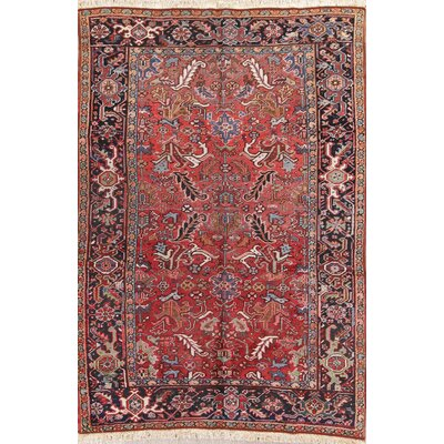 One Of A Kind Kristoffer All Over Geometric Heriz Persian Hand Knotted 64 X 92 Wool Burgundyblue Area Rug Isabelline